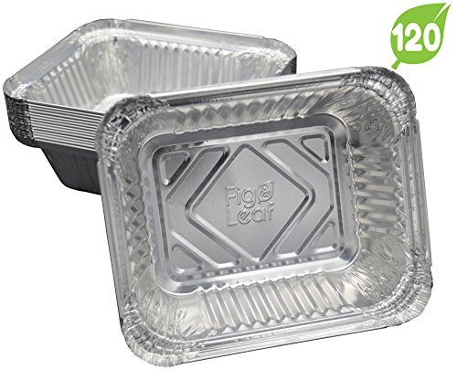 (120 Pack) Aluminum Disposable 1-LB Takeout Pans with Lids l Small 5.6