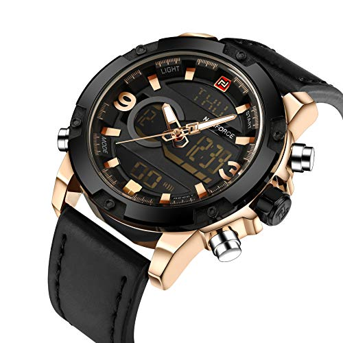 (Tonnier Genuine Leather Band Analog Digital LED Dual Time Display Mens Watch, Black&Gold)