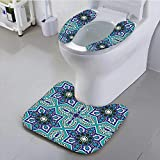 Philiphome Toilet seat Cushion Arabesque Pattern Traditional Islamic Art Geometric Decorative Persian Damask Art Cobal Machine-Washable