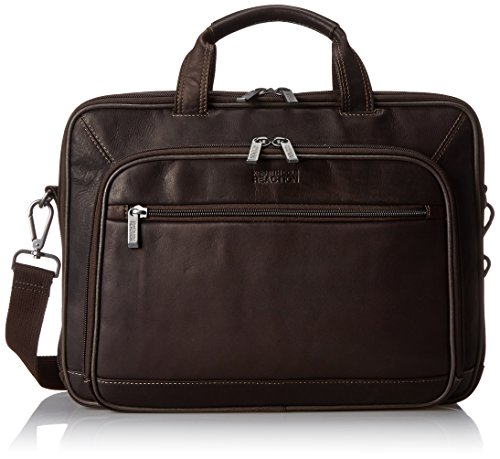Lined Top Zip Briefcase (Kenneth Cole Reaction Leather Double Gusset Computer Case, Brown, One Size)