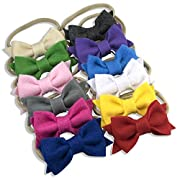 Soft Felt Bows on Nylon Baby Headbands For Newborn and Baby GirlsBy ZELDA MATILDA - 12 Piece Pack