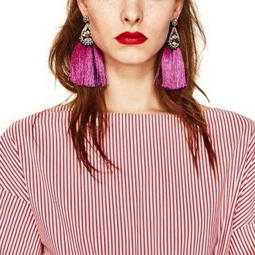Aibelly Bohemian Vintage Rhinestones Flower Tassel Statement Dangle Drop Earrings New Fashion Handmade Thread Retro Stud Earrings for Woman Girls