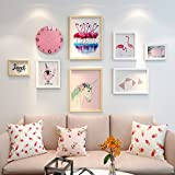 ALUS- 7 Multi Photo Frames Set Simple Nordic Style Wood Creative Cute Girl Room Dining Room Bedroom Wall Photo Picture Wall Frame ( Color : #1 )