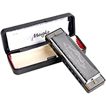Harmonica, Mugig Professional Harmonica, Standard Diatonic 10 Hole with 1.2mm Plate Structure, Suitable for Any Occasion, like Blues, Folk, Jazz and Pop, Key of C (Standard)