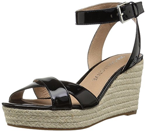 - Amazon Brand - 206 Collective Women's Campbell Espadrille Dress Wedge-High Sandal, black patent leather, 7.5 B US