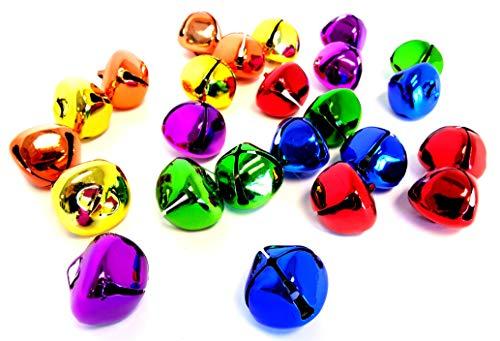 Playscene Assorted Jingle Bells, Multicolored Bells, Silver Bells, Gold Bells, Red Bells for Decorative or Arts & Craft Projects (2 Dozen, Multicolored)