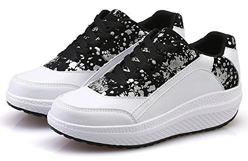 ... Ausom Kvinners Kult Sliver Form Ups Svinge Sko Toning Slanking  Plattform Kiler Gangtrenings Sneaker Hvit ...