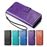 Galaxy S7 Case, HLCT PU Leather Case, With Soft TPU Protective Bumper, Built-In Kickstand, Cash And Card Pockets, For Samsung Galaxy S7 (Purple)