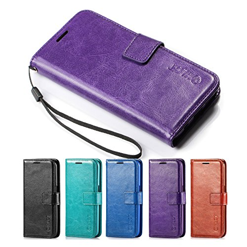 Price comparison product image Galaxy S7 Case, HLCT PU Leather Case, With Soft TPU Protective Bumper, Built-In Stand Kickstand, Cash And Card Pockets, For Samsung Galaxy S7 (Purple)