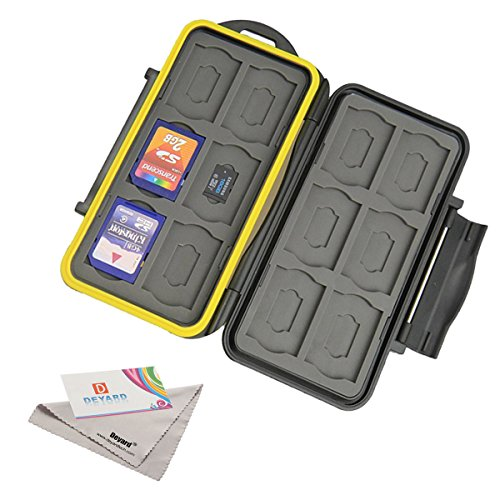 Deyard K020 Waterproof Memory Card Case Shockproof Memory Card Carrying Case Protector Box: 24 Slots for 12 SDHC / SDXC Cards and 12 Micro SD Cards - Upgraded Version with Deyard Superfine Fiber Cloth