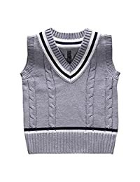 JELEUON Baby Boys Toddler V-Neck Solid Color Cable Knit Pullover Sweater Vest