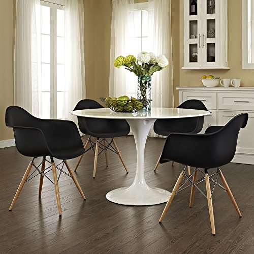 2xhome   Set Of Two (2) Black   Eames Style Armchair Natural Wood Legs