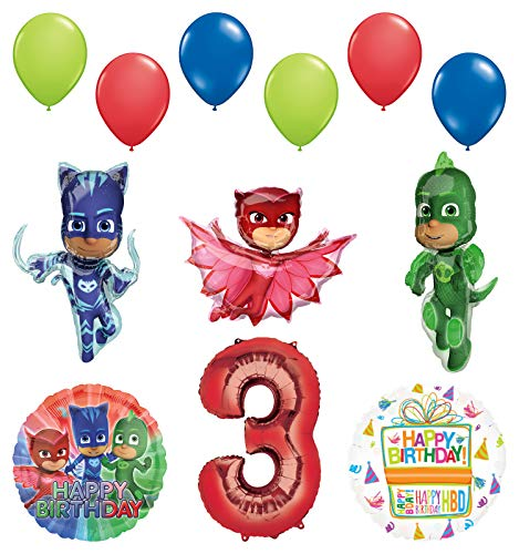 Mayflower Products PJ Masks 3rd Birthday Party Supplies Catboy, Owlette and Gekko Balloon Decorations ()