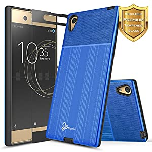Xperia XA1 Ultra Case with FREE [Full Cover Tempered Glass Screen Protector], NageBee [Brushed] Heavy Duty Defender Dual Layer Protector Case For Sony Xperia XA1 Ultra
