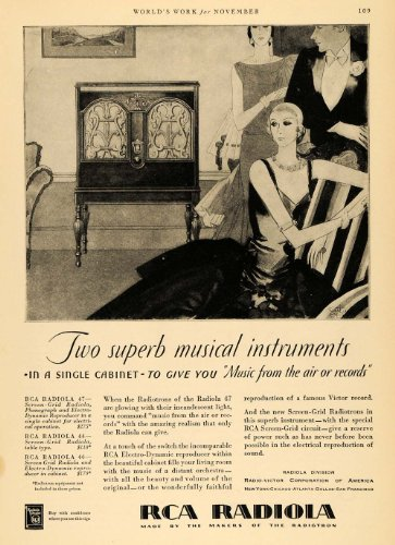 1929 Ad RCA Radiola Musical Instrument Fashion Music - Original Print Ad from PeriodPaper LLC-Collectible Original Print Archive