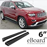 """eBoard Running Boards Matte Black 6"""" For 2011-2016 Jeep Grand Cherokee (Excl. Diesel Model) Will not fit with OE skirt cladding"""