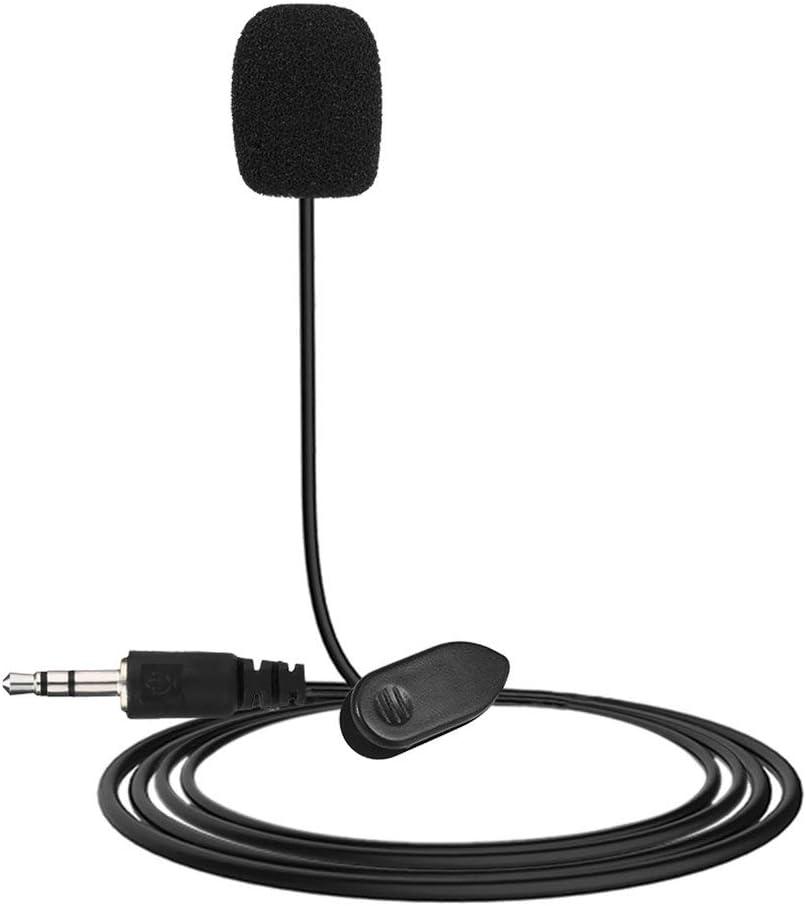 Dynamovolition New Mini port/átil 3.5mm Mini Studio Speech Mic Micr/ófono con Clip para computadora port/átil de Escritorio Conferencias Docencia Micr/ófono Negro