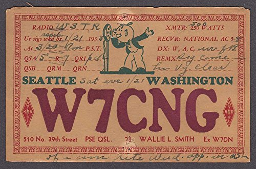 W7CNG Wallie Smith 510 No 39th Street Seattle WA QSL postcard ()