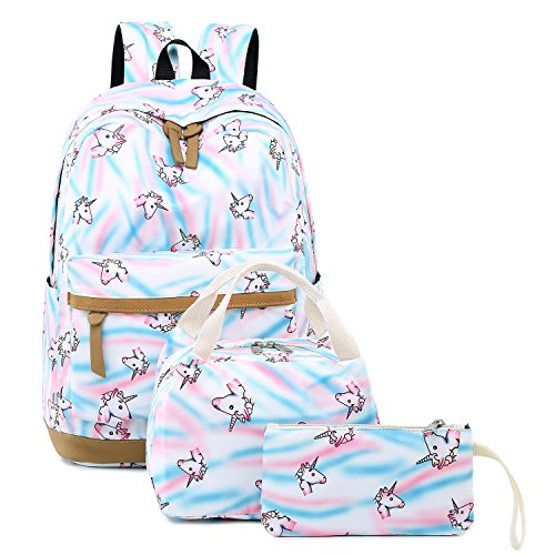 CAMTOP Teens Backpack for School Boys Girls School Bookbag Set Travel Daypack (White/Unicorn)