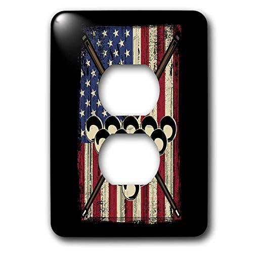 (3dRose Sven Herkenrath Billiard - Pool Billiard Snooker Cue with US America Flag - Light Switch Covers - 2 plug outlet cover (lsp_307793_6))