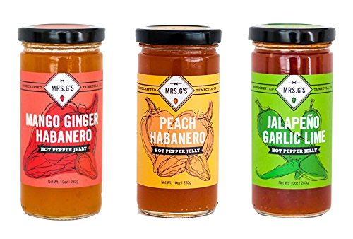 HOT PEPPER JELLY 3-Pack - Mrs. G's Mango Ginger Habanero, Peach Habanero and Jalapeno Garlic Lime Jellies - Locally sourced and packaged in Southern California. (Mrs. B's Gift Baskets)