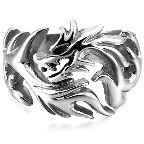 INBLUE Men's Stainless Steel Ring Silver Tone Dragon Tribal Size13