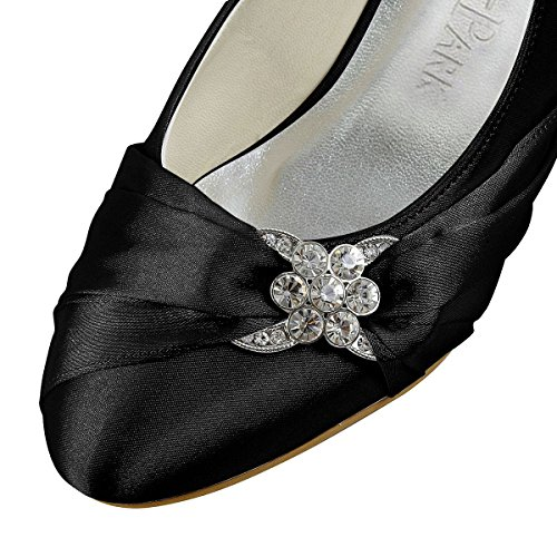 Heel Rhinestone EP2006L Satin Shoes Closed Comfort Black Bridal Elegantpark Women Toe Wedding HqpX1