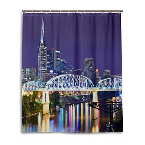 Apartment Decor Shower Curtain,Skyline of Downtown Nashville Tennessee