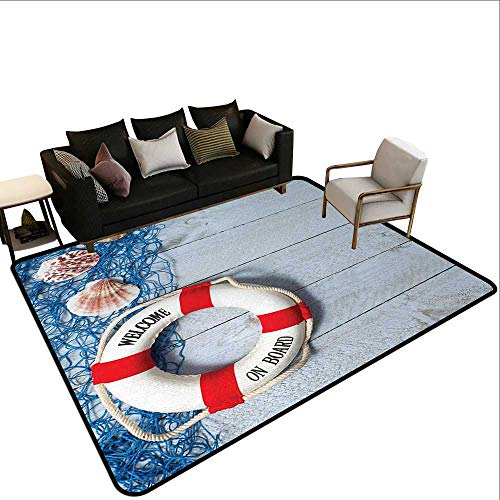 Runner Rugs Buoy,Welcome on Board Message on Lifebuoy with Fishing Net Seashell Wood Floor of Boat,Dust Blue Red,for Living Room Bedrooms Kids Nursery Home Decor 3'x ()