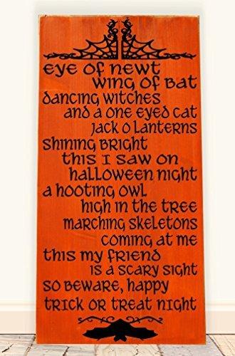 Adonis554Dan Halloween Poem Wooden Subway Art Sign -