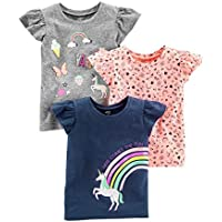 Simple Joys by Carter's Girls' Toddler 3-Pack Short-Sleeve Graphic Tees