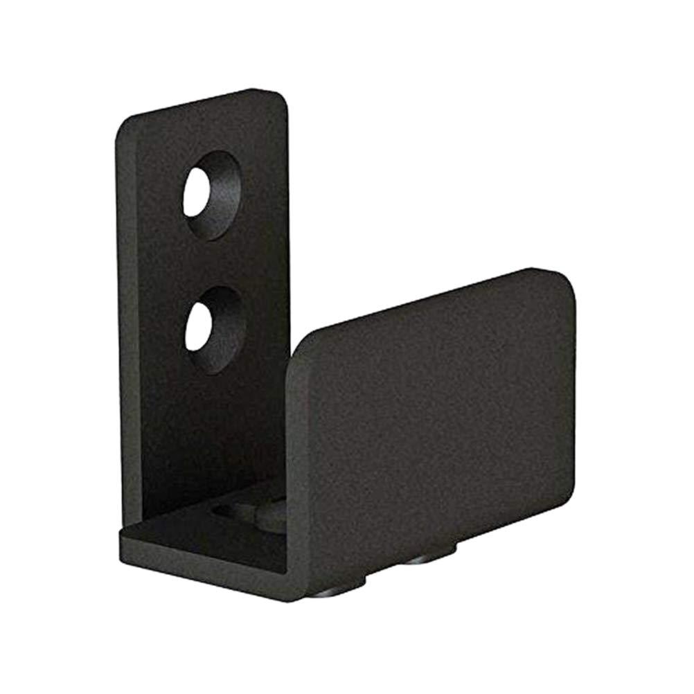 Yardwe 2 piezas Gu/ía del piso de la puerta deslizante Bar de acero de carbono gu/ía de piso de montaje en pared de la puerta deslizante de granero de hardware 4,5 x 2,8 x 4,8 cm negro