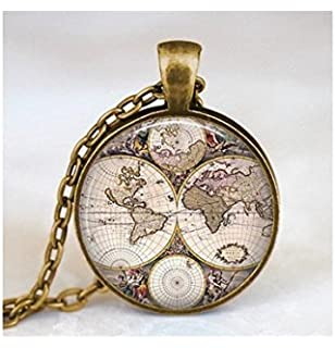 Amazon world map globe necklace vintage globe pendant world world map necklace world map pendant world map jewelry gumiabroncs Images