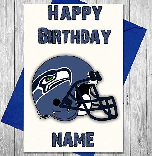AKGifts American Football Seattle Seahawks - Personalised Birthday Card - Any name and age printed on the front (7 - 10 BUSINESS DAYS DELIVERY FROM UK) (Gift Delivery Seattle)