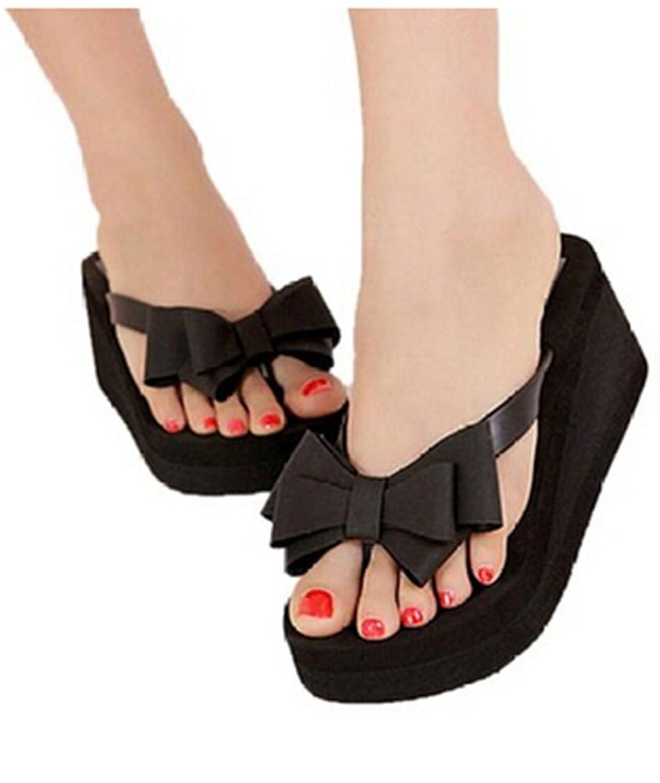 5Sheepgs Women Summer Boho Platform Wedge Beach Flip Flops Thong Sandals Shoes