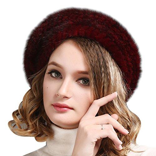 FURTALK Ladies 100% Natural Mink Beret Hat Women Winter Fur Hats Mink Fur  Beret for 4fdaa55adef1
