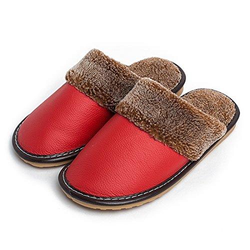 Bedroom nbsp;Soft nbsp;Genuine nbsp;for nbsp;Comfy nbsp;Shoes nbsp;Lined nbsp;Leather Red Women Slipper Maylian 5BwqdUaB