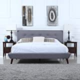 Divano Roma Furniture Mid-Century Grey Linen Low Profile Platform Bed Frame with Tufted Headboard Design (Queen)