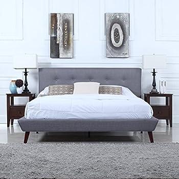 Amazon Com Mid Century Grey Linen Low Profile Platform