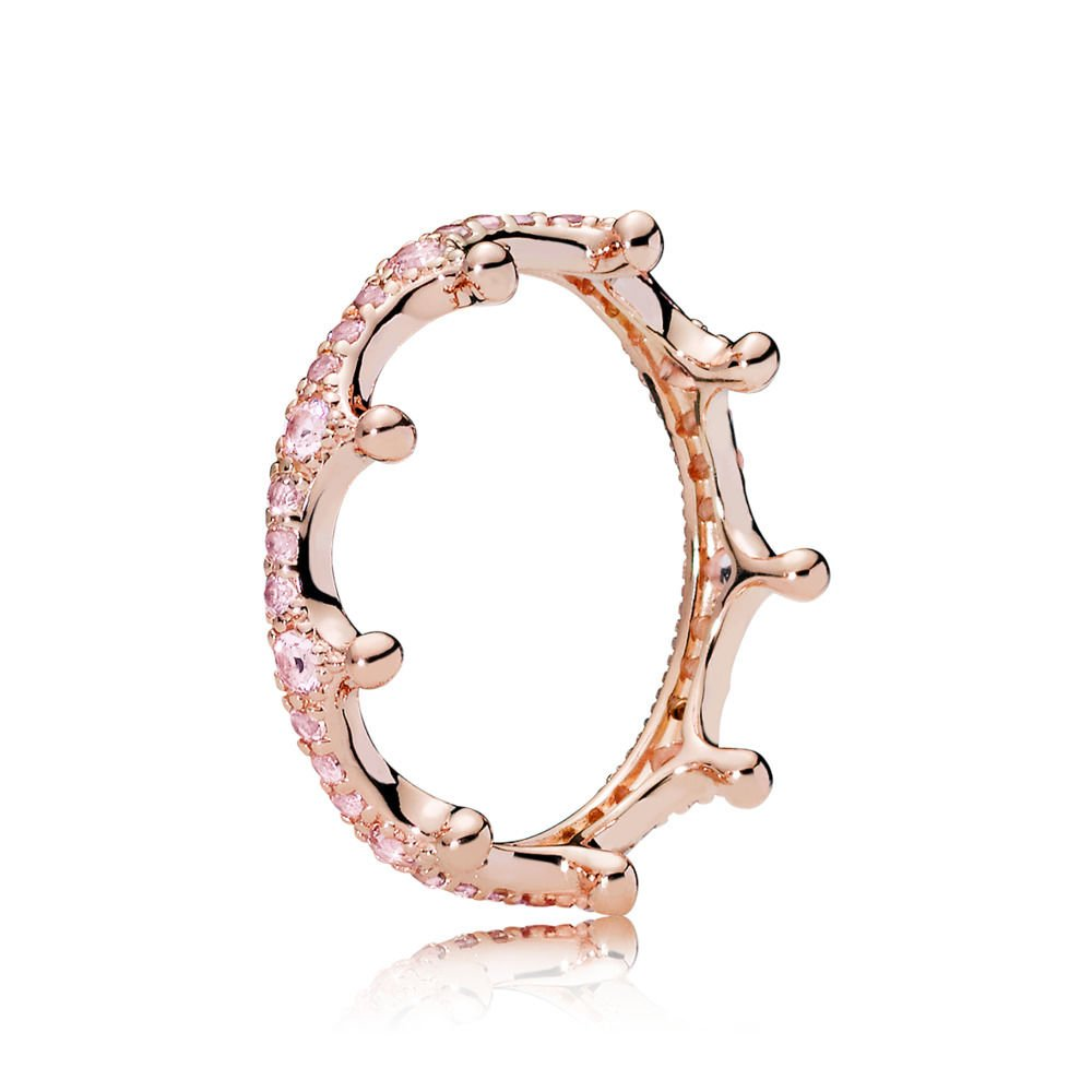 A & B Rose Princess Crown Ring in sterling silve and CZ Rose gold plated