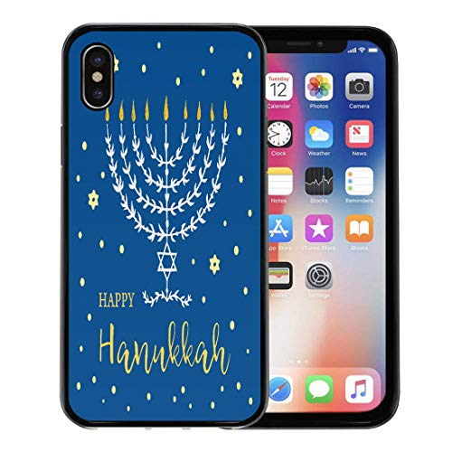 Semtomn Phone Case for Apple iPhone Xs case,Hanukka Happy Hanukkah Menorah Lettering and Stars of David Judaic Holiday Hand Made Candle for iPhone X Case,Rubber Border Protective Case,Black