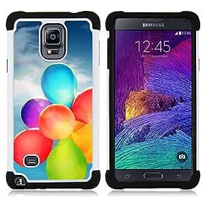 """Samsung Galaxy Note 4 IV / SM-N910 - 3 en 1 impreso colorido de Altas Prestaciones PC Funda chaqueta Negro cubierta gel silicona suave (Globo Colores"""")"""
