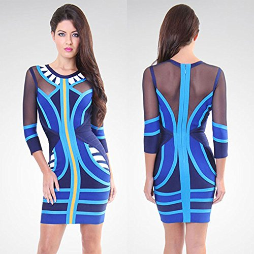 Bandage Dress Patchwork Mesh Azul Tribal Hlbandage Sleeve Long FzBvnwTXq