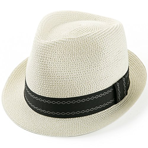 Sedancasesa Unisex Fedora Straw Sun Hat Paper Summer Short Brim Beach Jazz (Straw Derby)