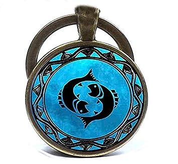 Piscis - Llavero de cristal con diseño de la luna azul del ...