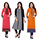 RAMDEV Women's Cotton Semi Stitched Kurti Pack of 3_Free Size