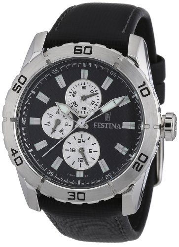 Festina Men's Quartz Watch with Black Dial Analogue Display and Black Leather Strap F16607/3