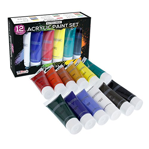 U.S. Art Supply 75ml Acrylic 12 - Color Paint Extra Large Tube Artist Painting Set by US Art Supply
