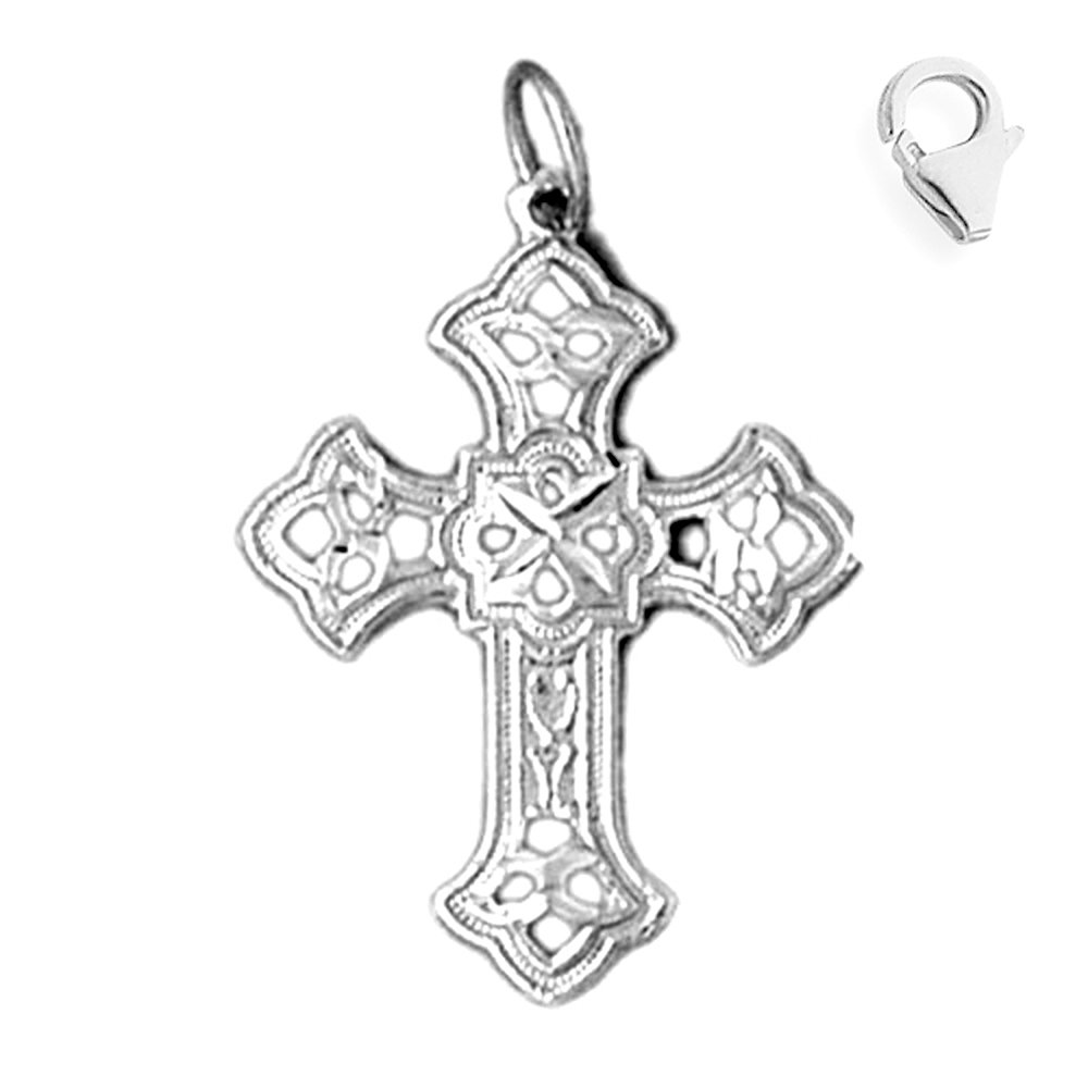 Sterling Silver 29mm Cross with 7.5 Charm Bracelet Jewels Obsession Cross Pendant
