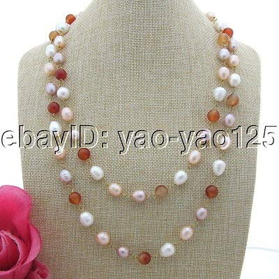 FidgetFidget S101906 51'' White Pink Purple Rice Pearl Red Agate Necklace